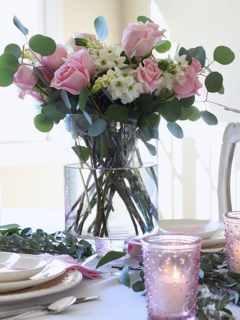 simple valentines day table pink and white floral arrangement gorgeous
