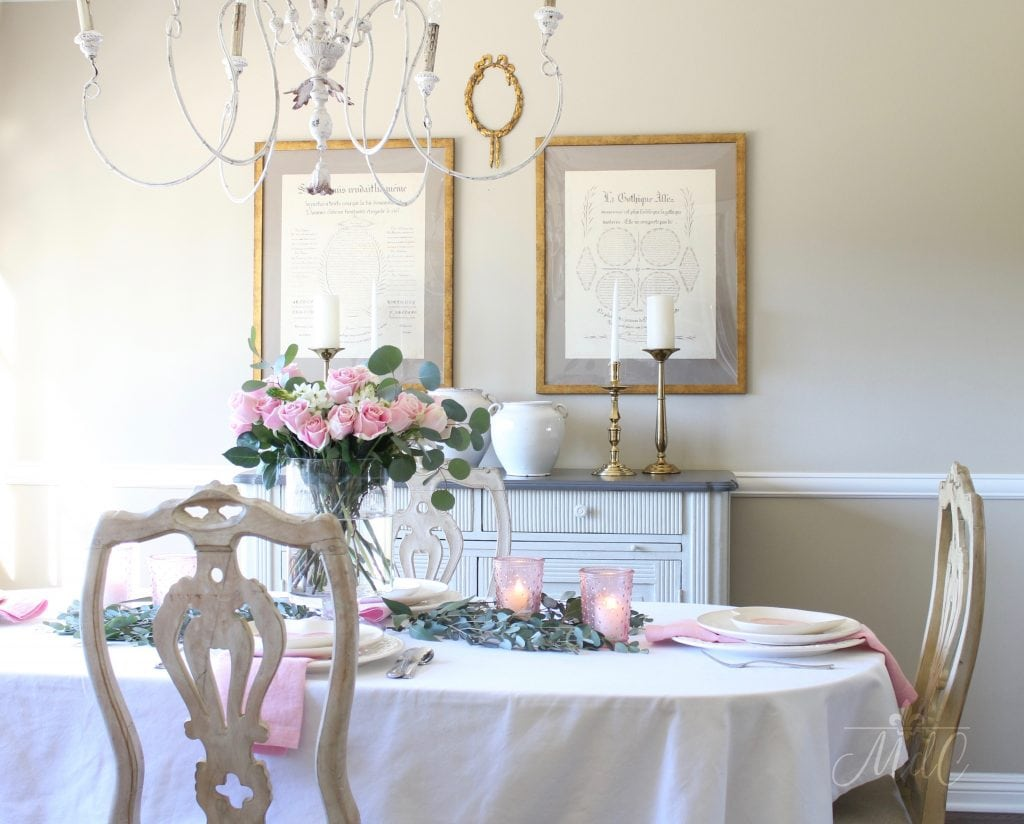 simple valentine's day table white linens pink roses candles french dining room