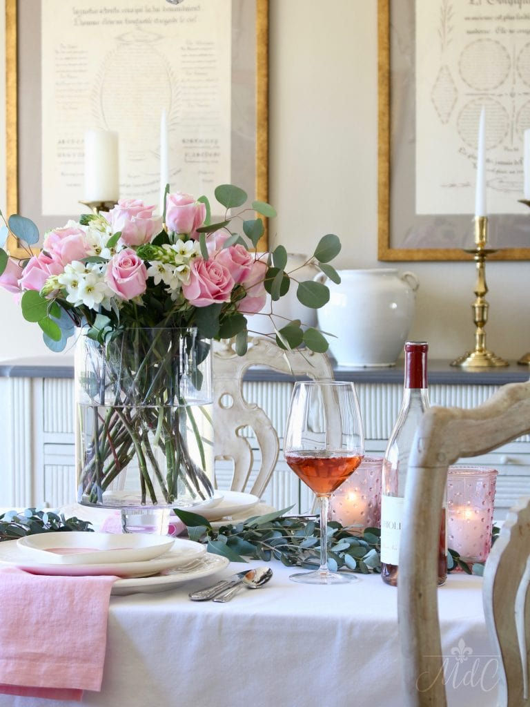 simple Valentine's Day table french dining room gorgeous pink and white flowers table