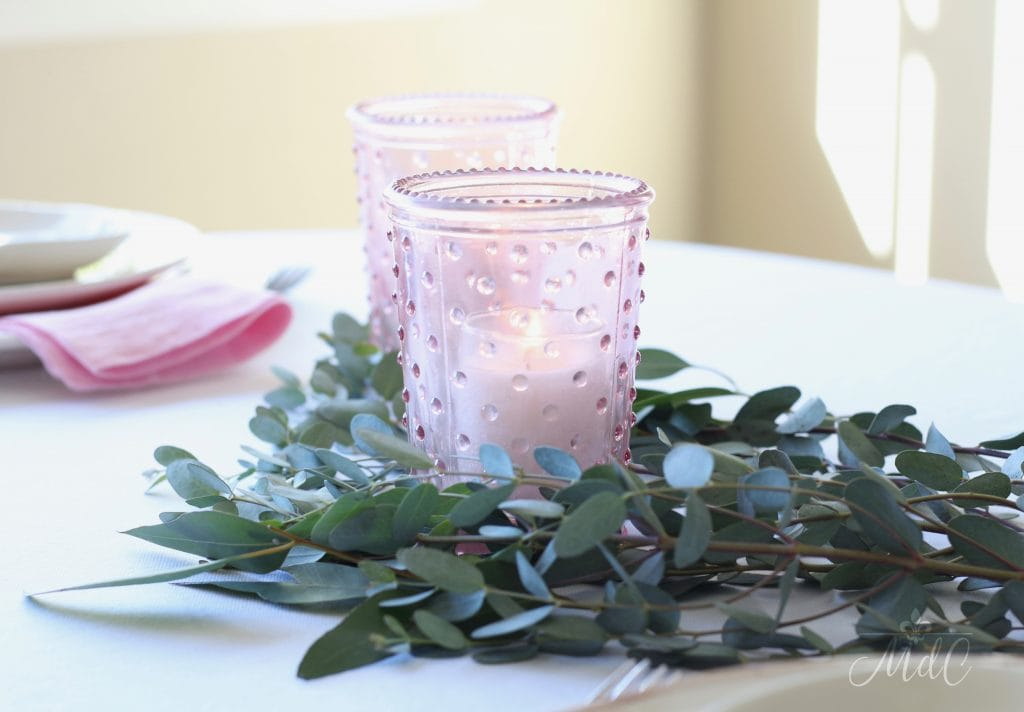 simple Valentine's Day table hobnail pink candleholders eucalyptus