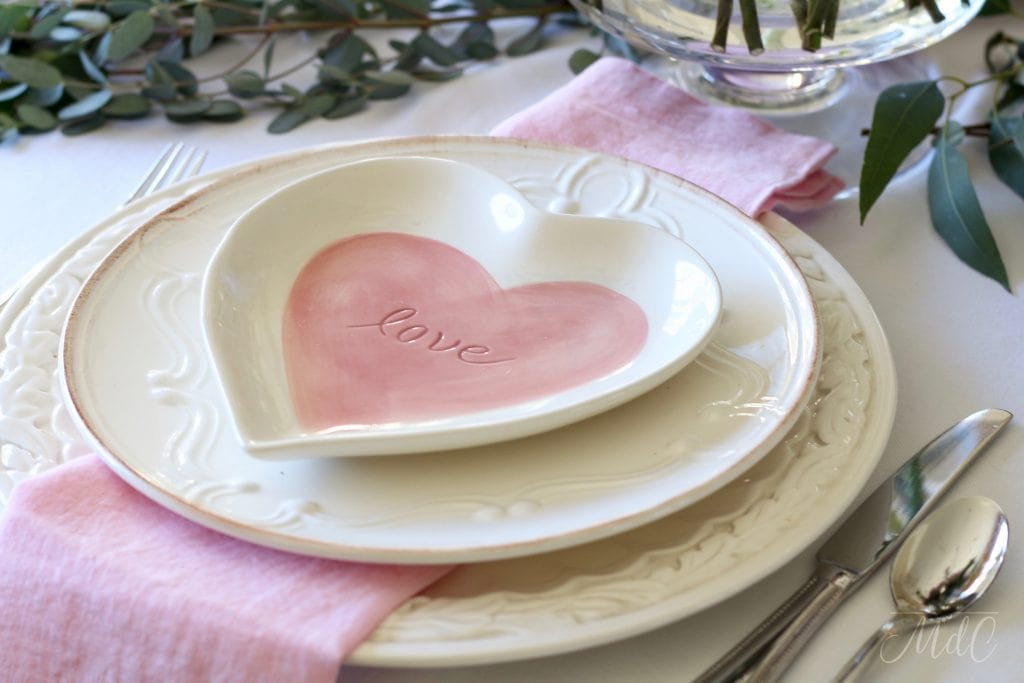 simple Valentine's Day table pink Pottery Barn heart plates white chargers