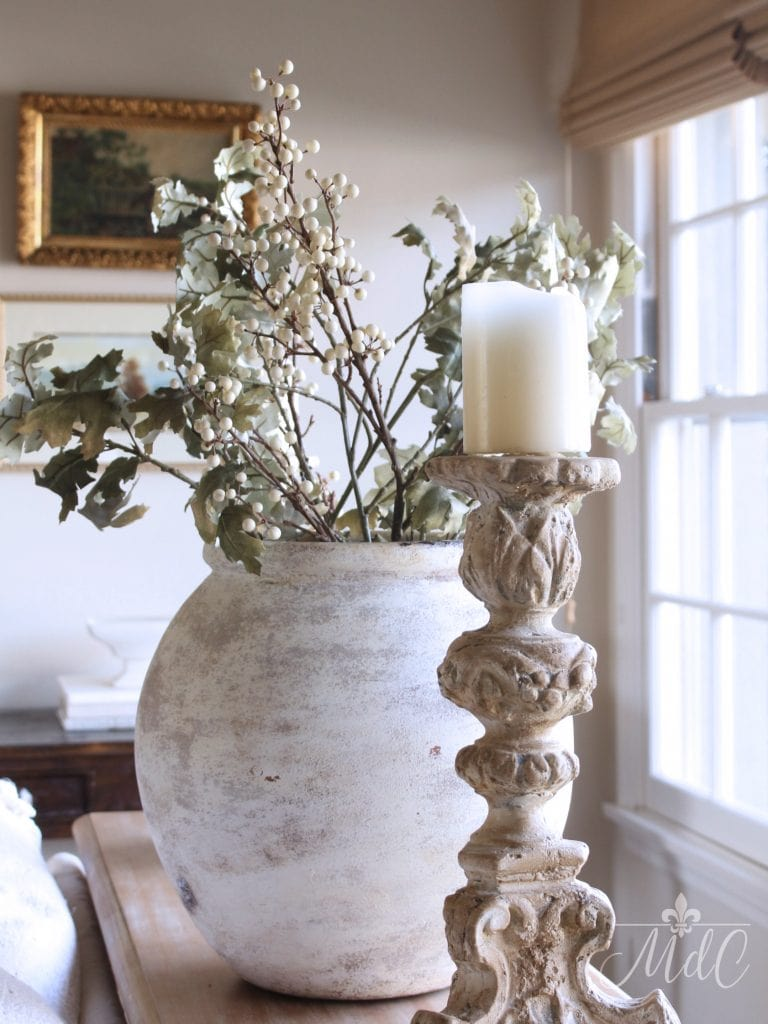 winter decorating living room leaves branches vase neutrals winter styling