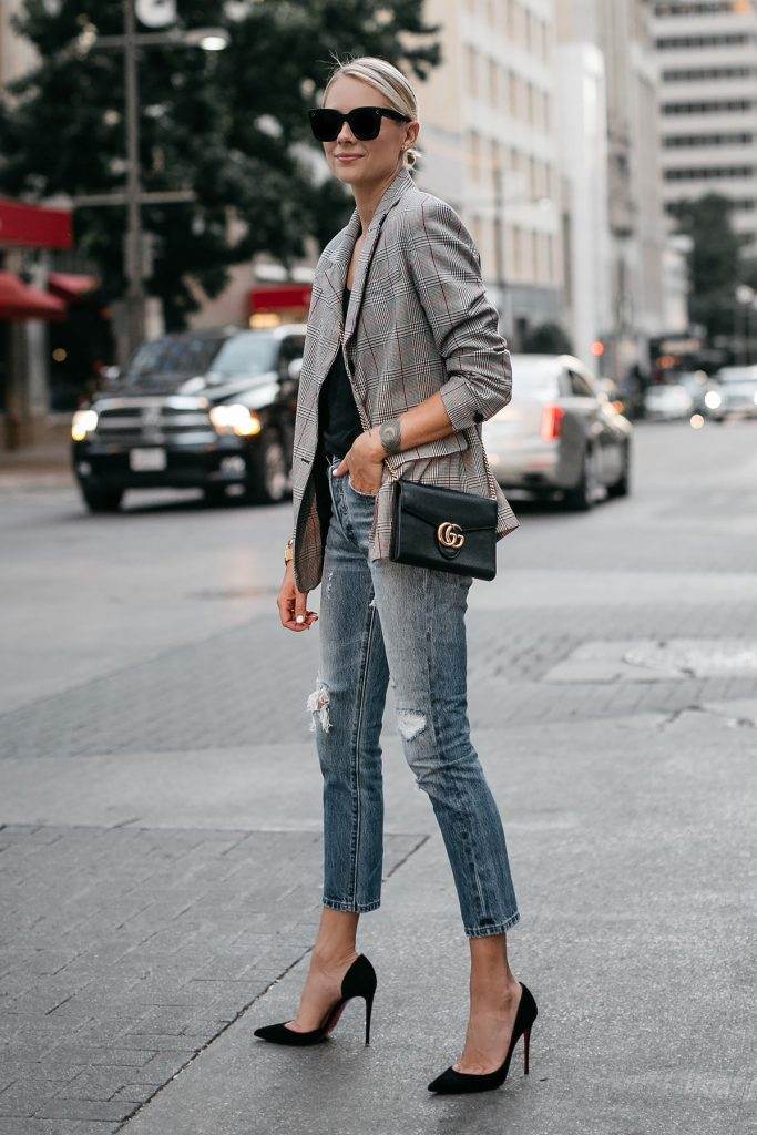 plaid blazer heels Gucci handbag jeans street style chic