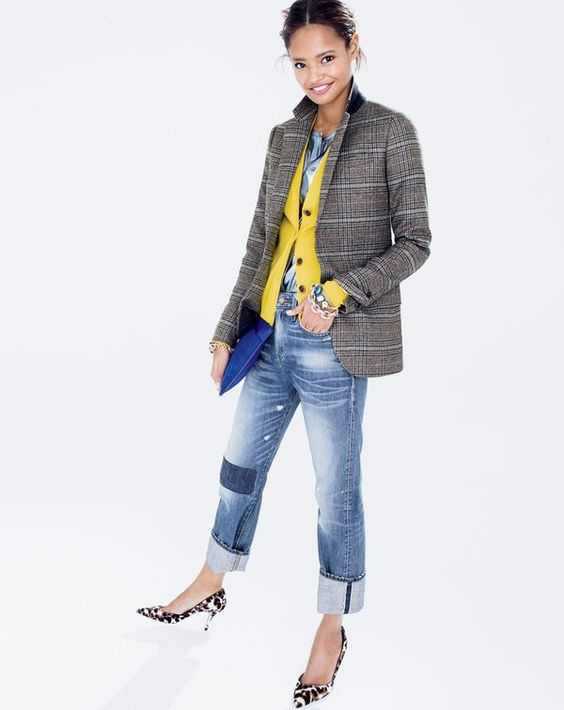 plaid blazer j crew yellow sweater distressed jeans heels stylish