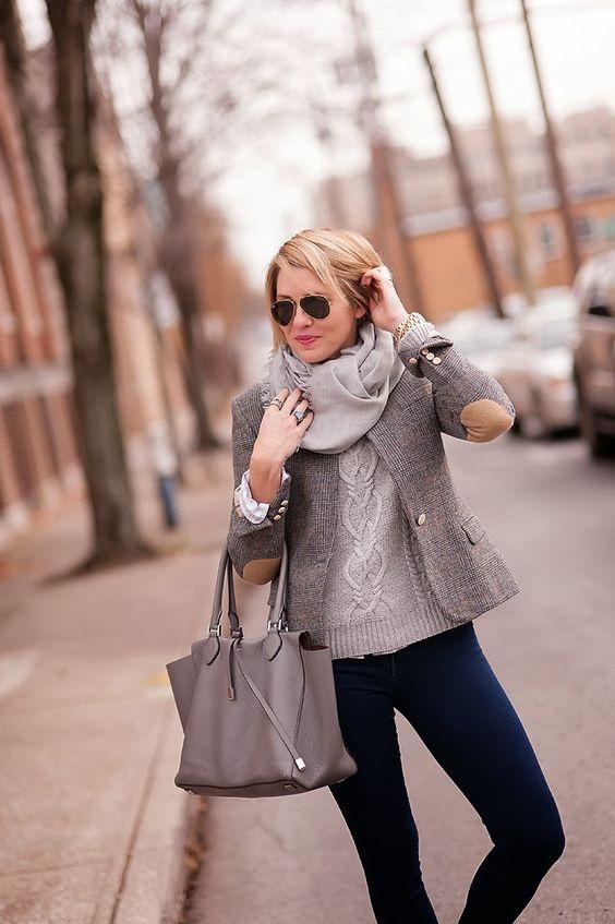 plaid blazer wool nubby checked winter fashion scarf