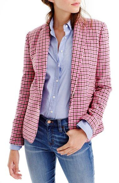 plaid blazer pink cute fashion jeans denim j crew