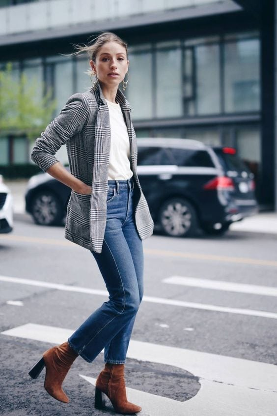 plaid blazer stylish jeans fabulous booties fashion inspiration street style