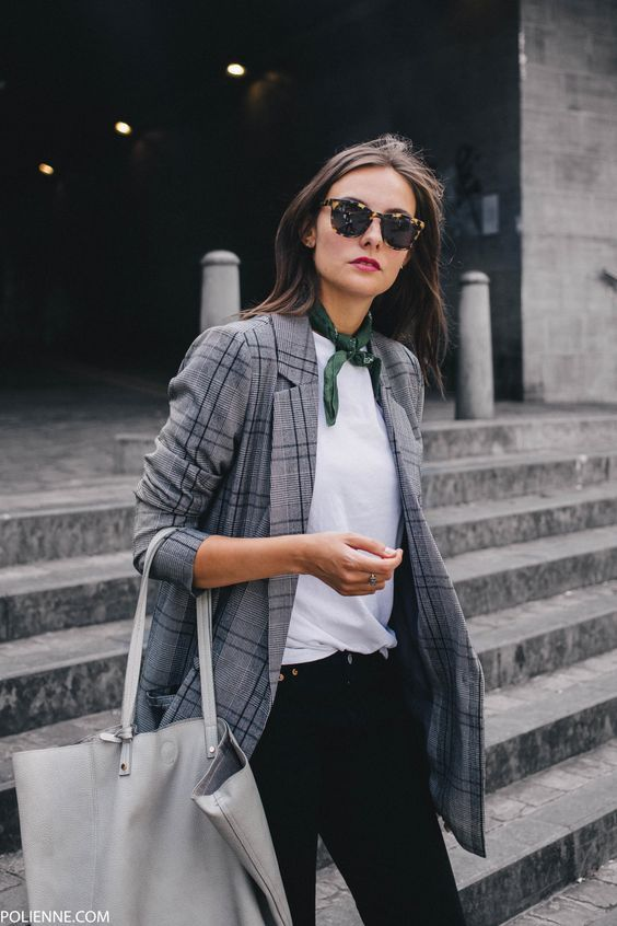 plaid blazer casual chic fashion scarf white tee black jeans street style