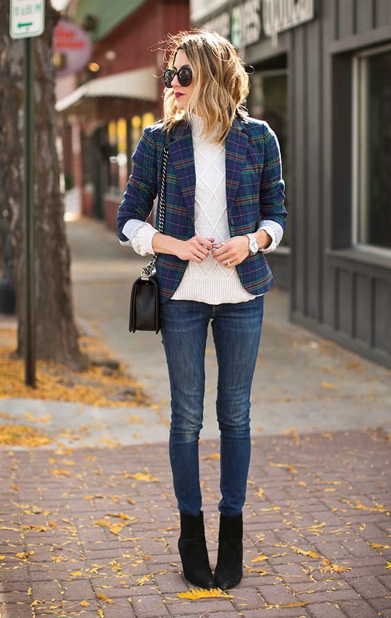 plaid blazer blue cableknit sweater jeans winter fashion ideas