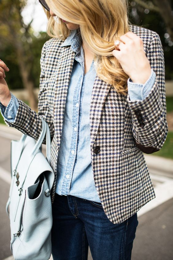 plaid blazer checked houndstooth denim shirt fashion inspiration
