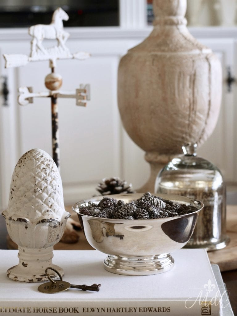winter decorating ideas pine cones silver bowl urn coffee table styling