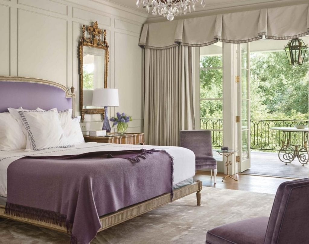 violet pantone color of the year headboard bedding elegant bedroom