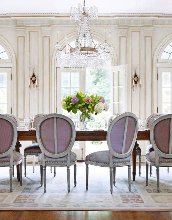 violet dining chairs elegant gorgeous room white walls chandelier