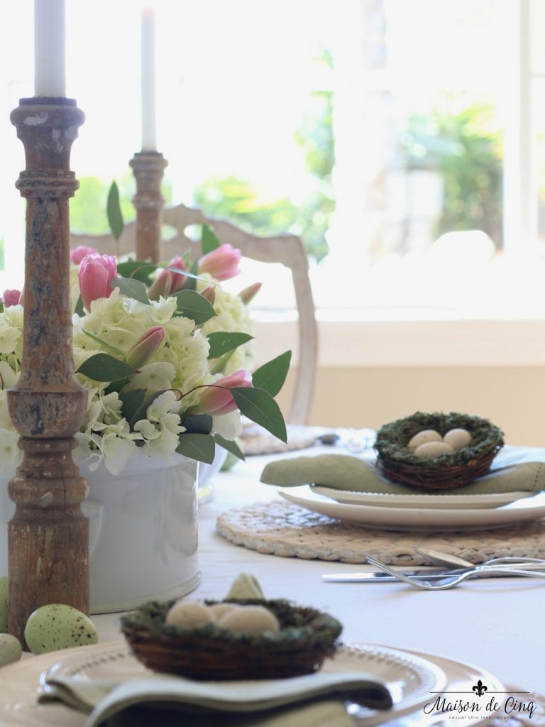 easter tablescape chippy wood candelholder white hydrangeas pink tulips gorgeous spring table
