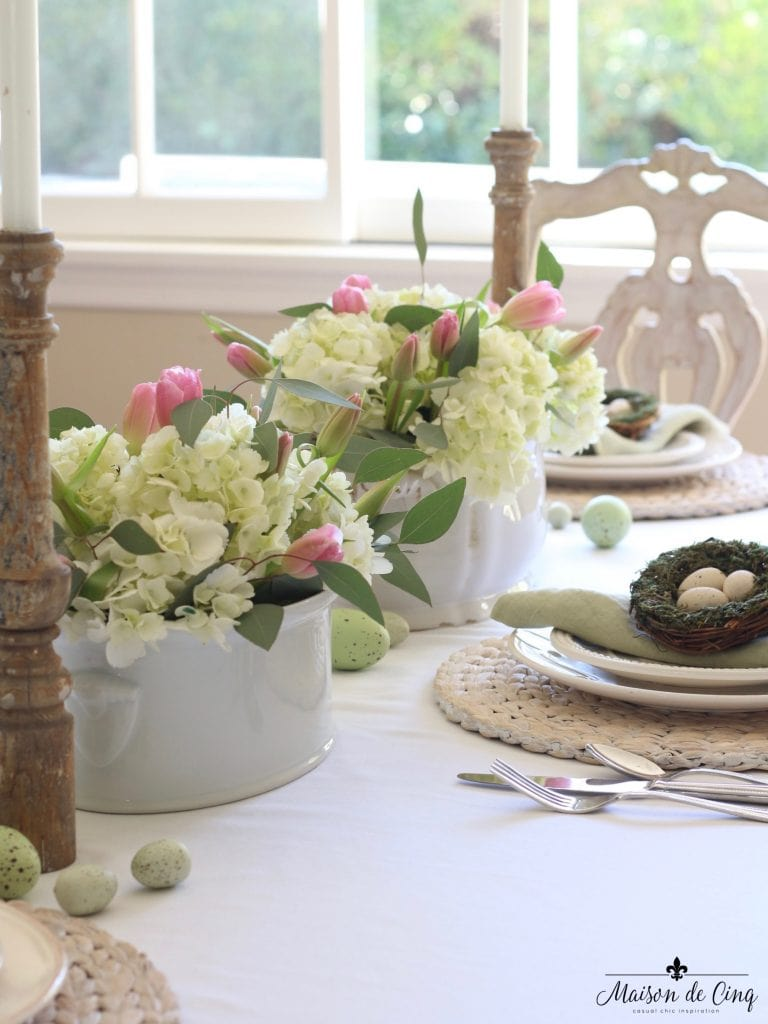 easter tablescape centerpieces white ironstone hydrangeas pink tulips gorgeous spring table