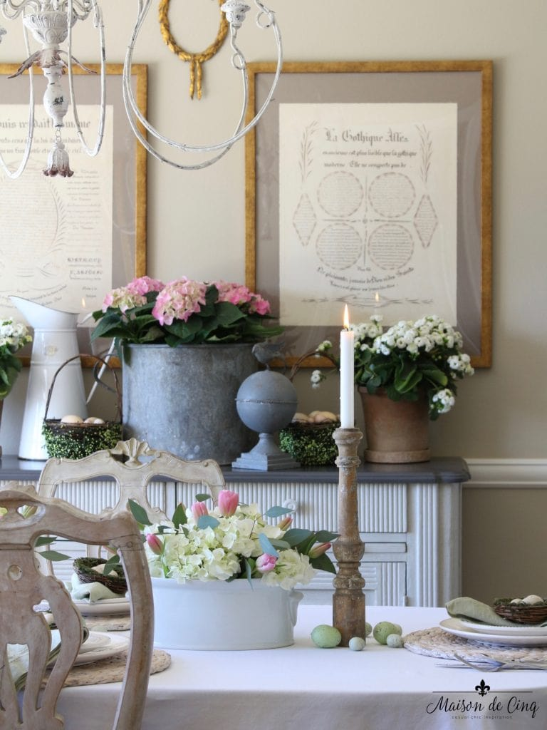 garden inspired easter tablescape flowers chippy urns spring garden elements gorgeous table