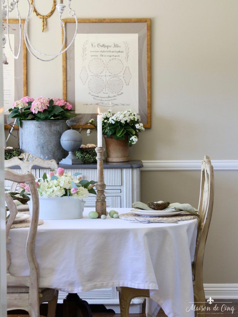 garden party easter tablescape hydrangeas tulips flowers gorgeous dining room