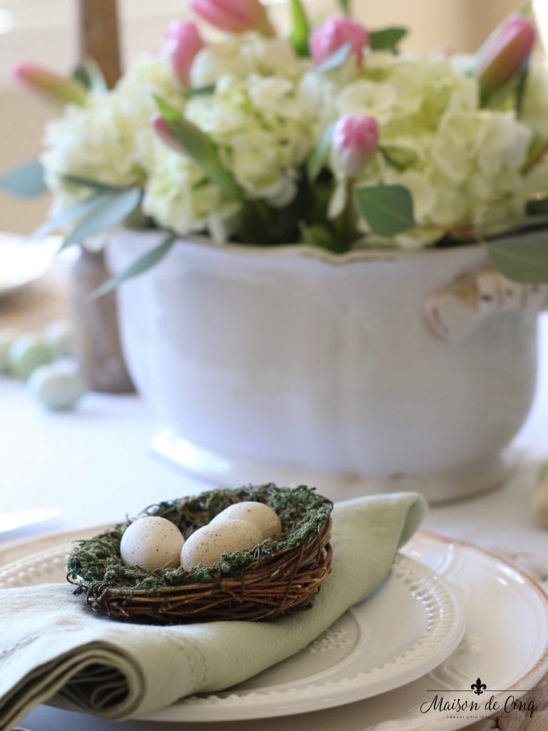 easter tablescape green linen napkin nest eggs hydrangeas