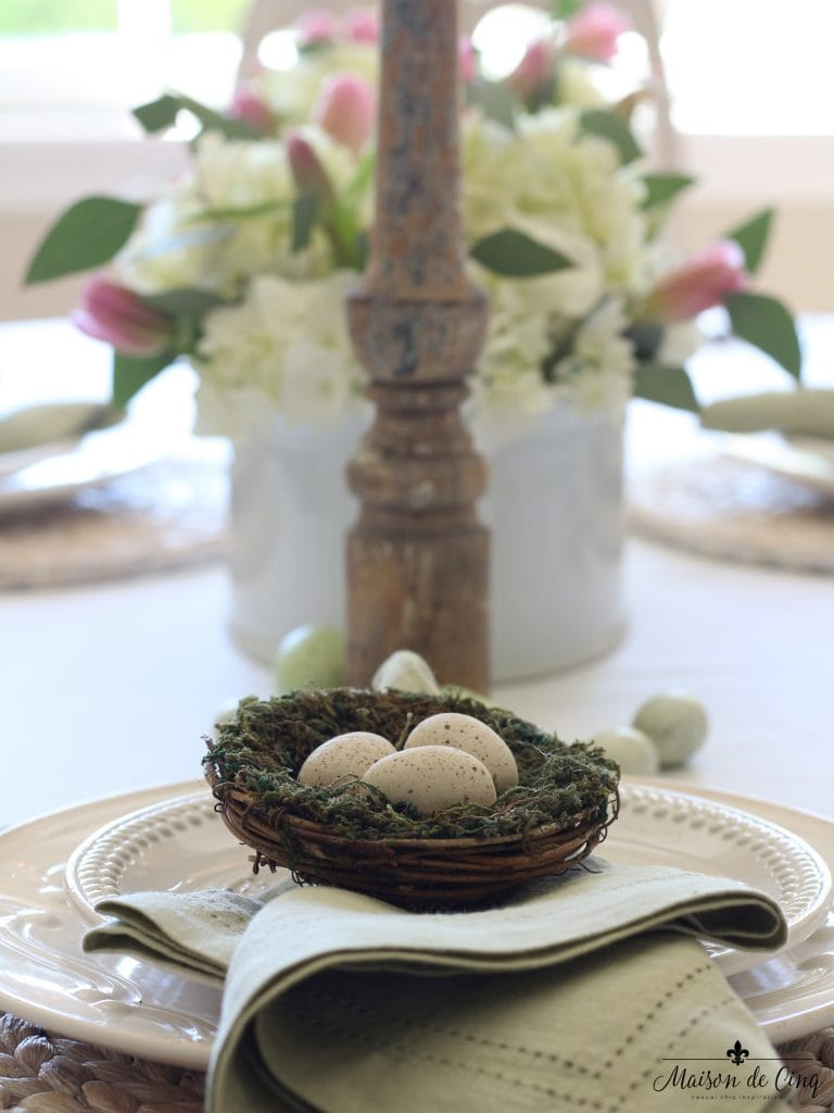easter tablescape white plates nest eggs chippy wood candleholder hydrangeas
