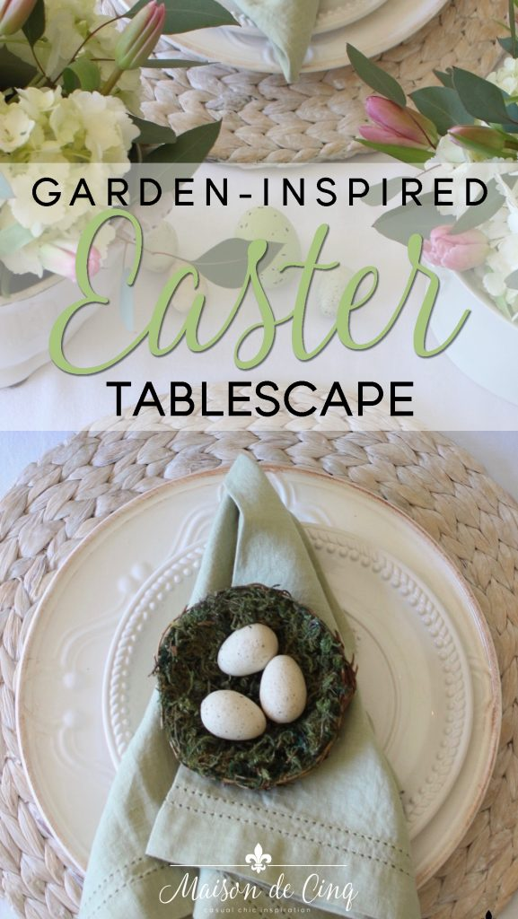 garden inspired easter tablescape on maison de cinq hydrangeas tulips white plates