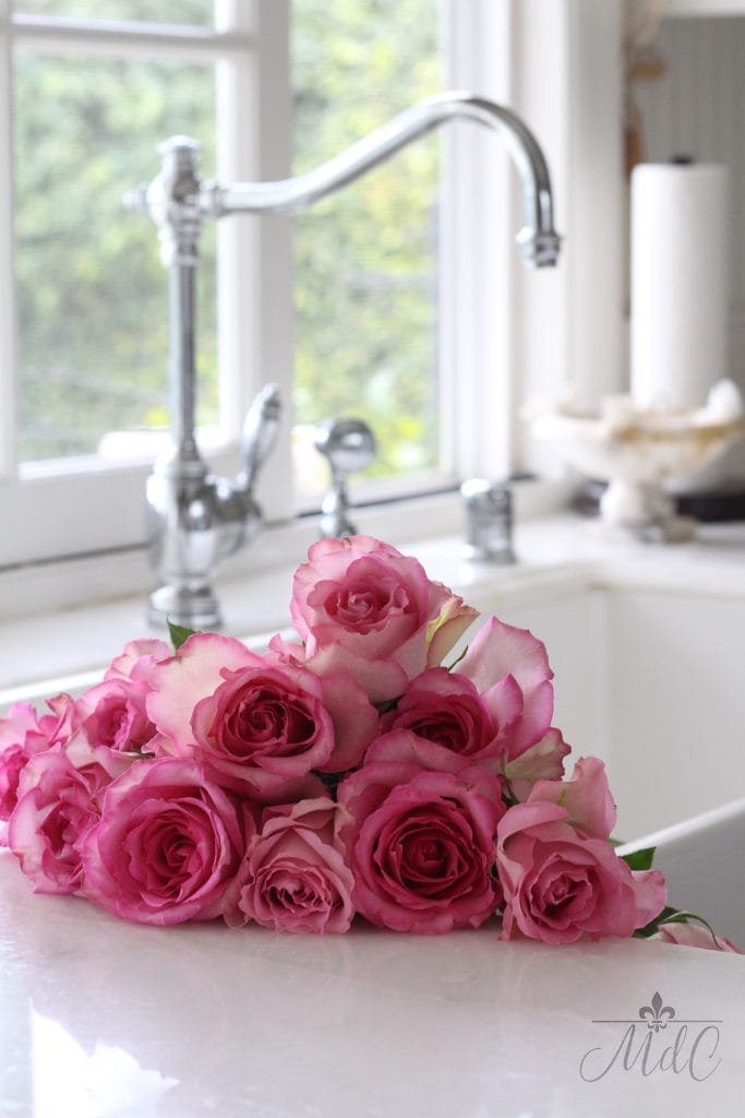sundays at home link party pink roses sink maison de cinq