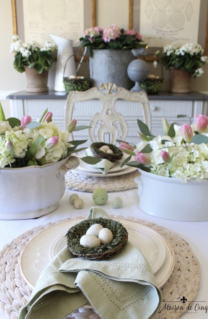 easter tablescape hydrangeas tulips pink and white gorgeous table garden theme