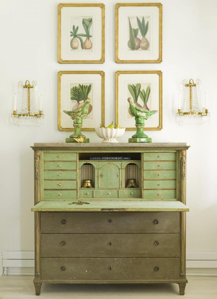 antique botanicals cream green grouping over a green antique secretary stunning vignette gustavian style