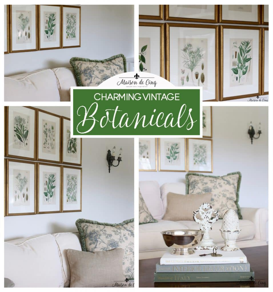 antique botanicals green and cream palette on maison de cinq french country style