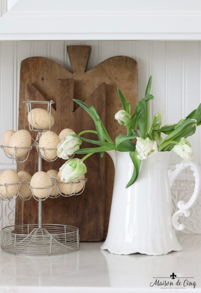 easter decor ideas vintage egg stand pitcher tulips