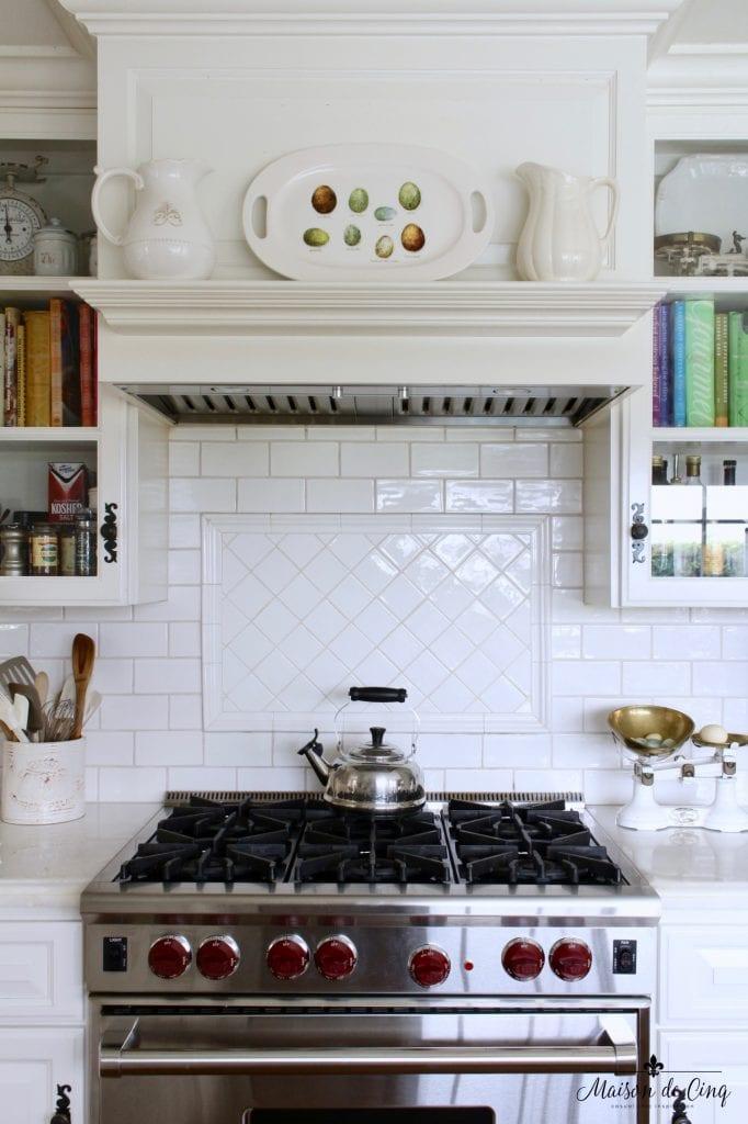 easter decor ideas white kitchen range mantel spring platter pitchers