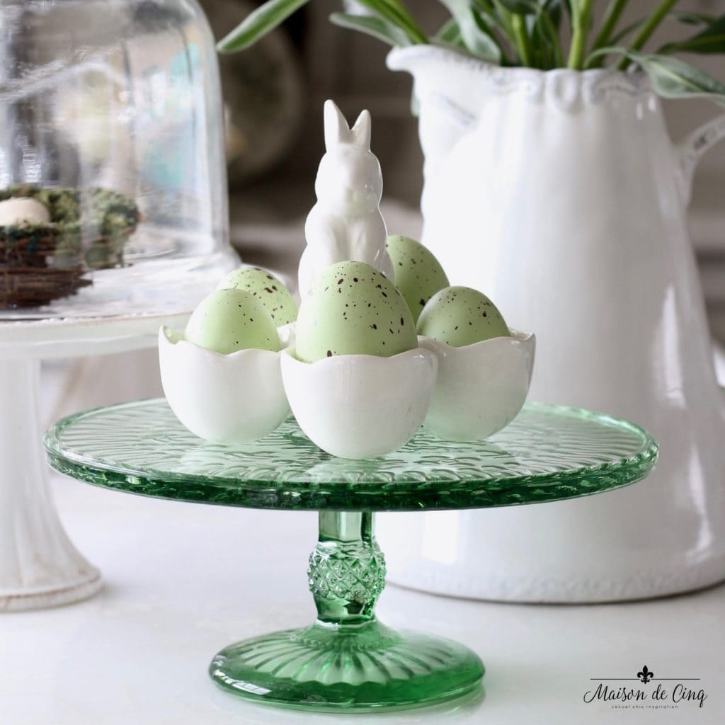 easter decor ideas green glass cake stand bunny egg holder spring decorating
