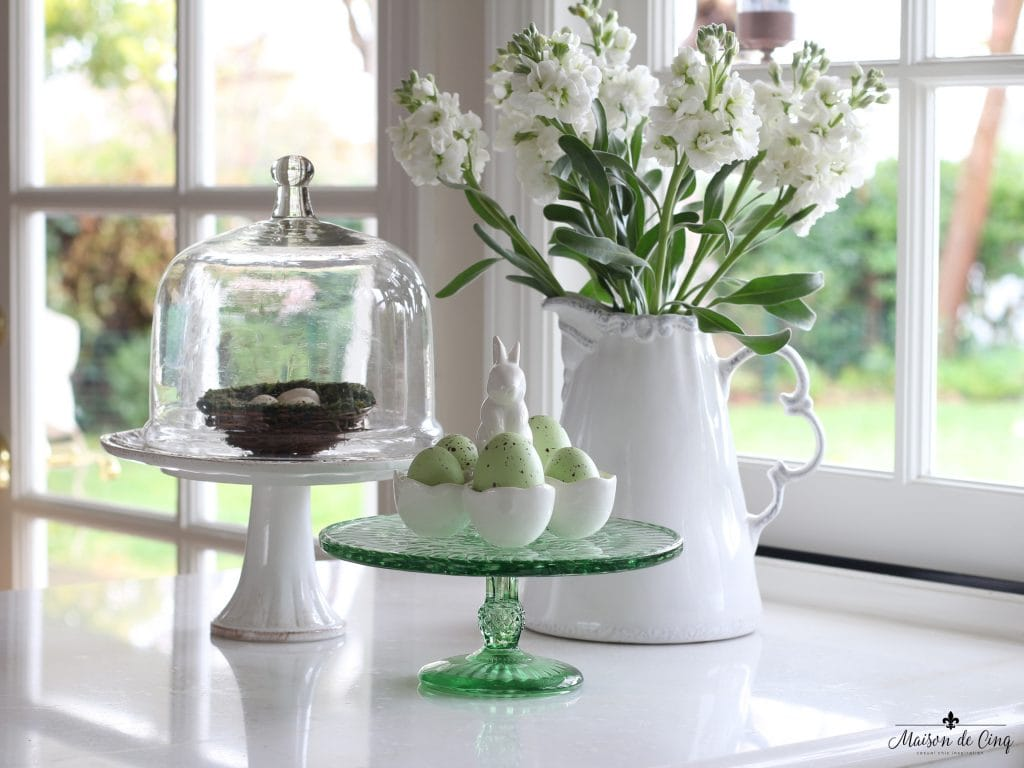 easter decor ideas kitchen vignette spring decorating nest eggs cloche cake stand flowers