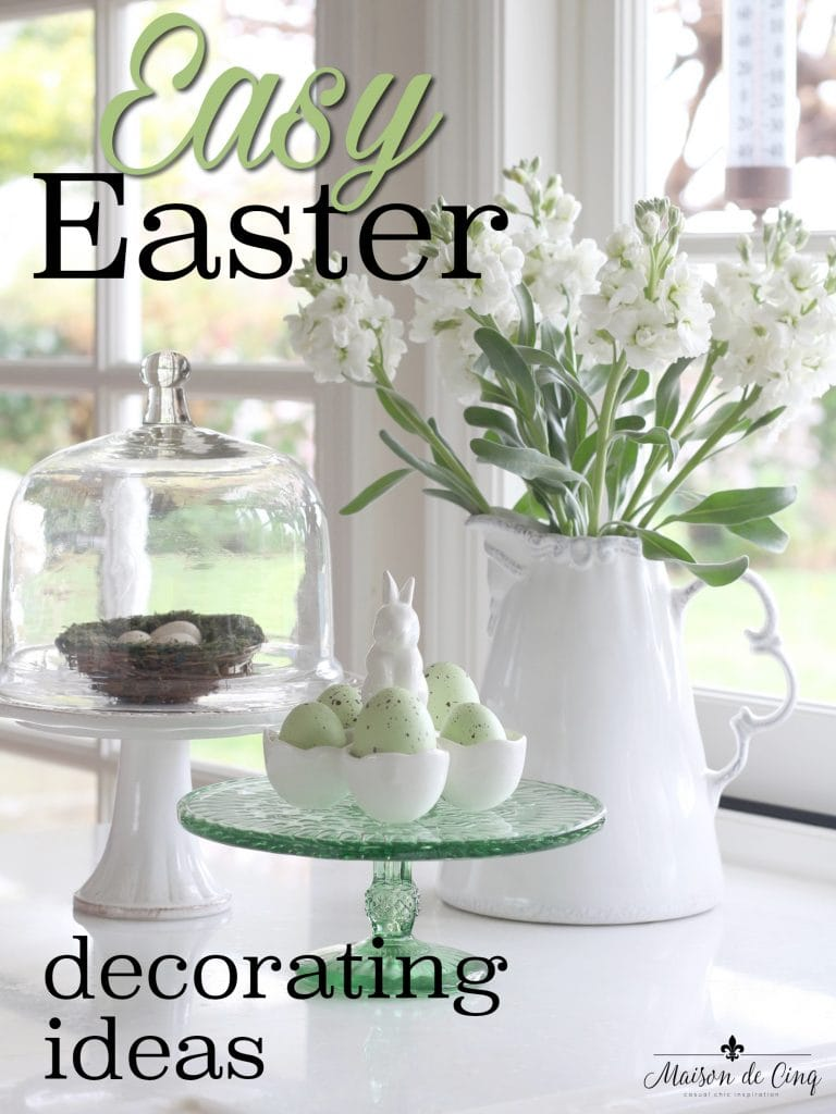 easter decor ideas easy simple green eggs nest cloche cake stand white flowers