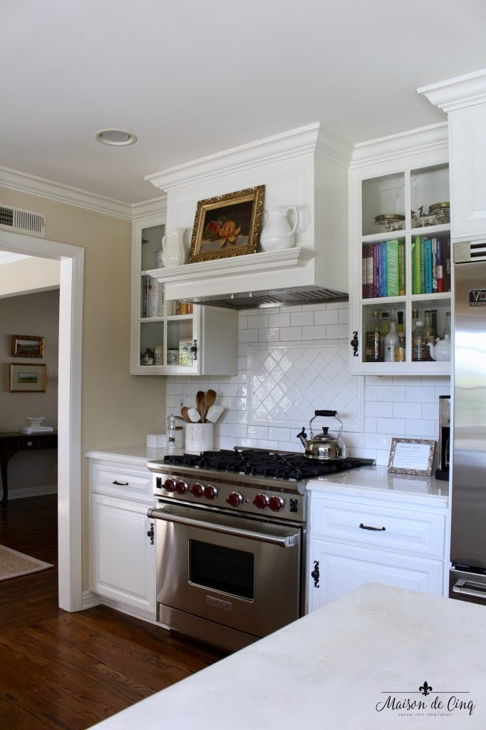 Art In The Kitchen Farmhouse White Kitchen Marble Subway Tile Artwork On  Stove Mantel