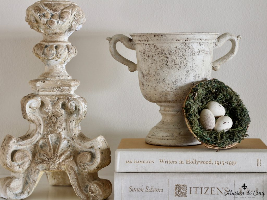 spring mantel decor urn nest eggs simple french style