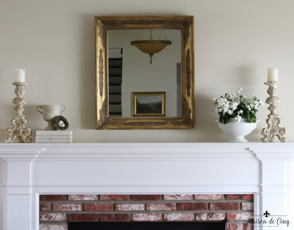 spring mantel decor mirror candlesticks french country style white flowers tureen