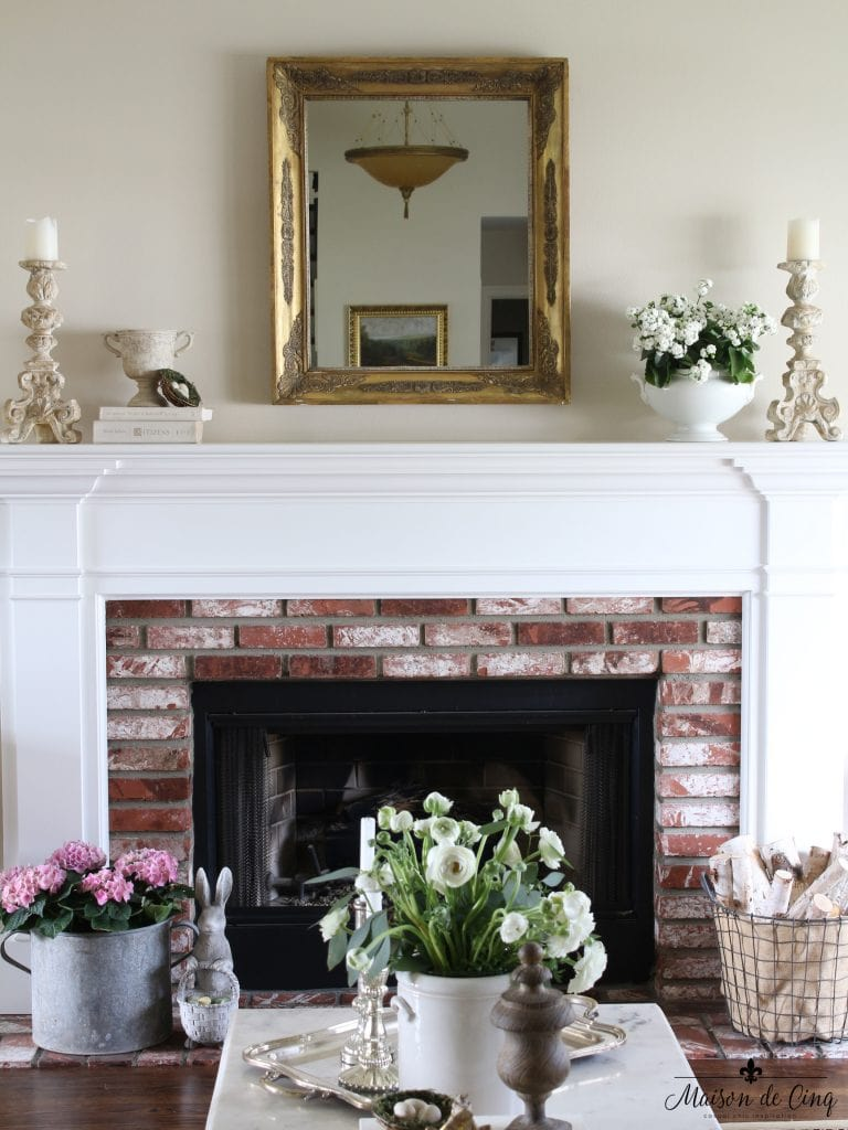 Spring Decorating Ideas Mantel Decor Flowers Mirror Fireplace Easter