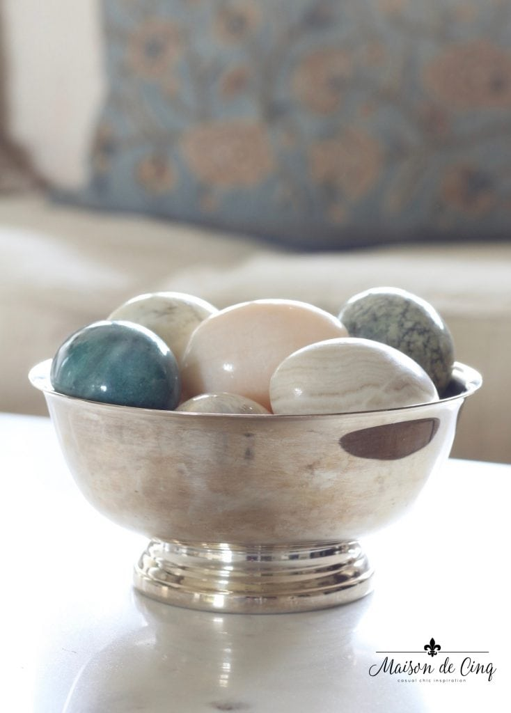 spring decorating ideas silver bowl marble eggs easter decor