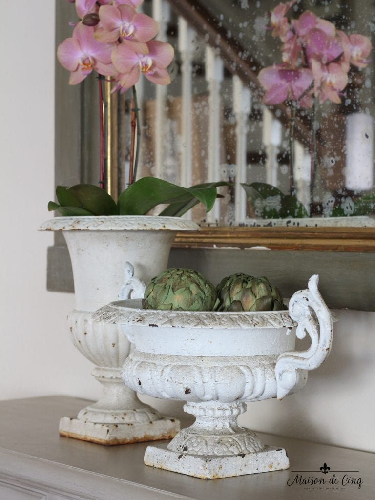 spring decorating ideas french chippy white antique urn orchid artichokes vignette easter decor