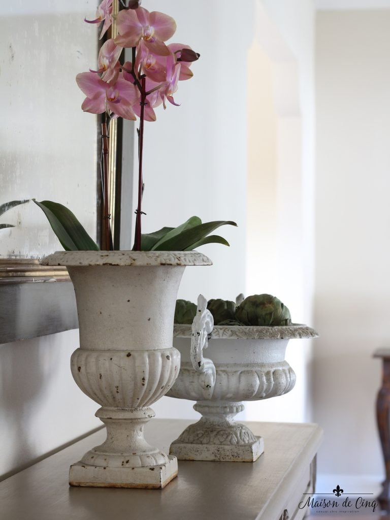 spring decorating ideas orchid vintage french urn chippy white