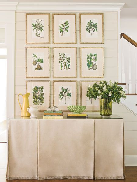 antique botanicals grouping green and cream palette over a skirted table french country style gorgeous