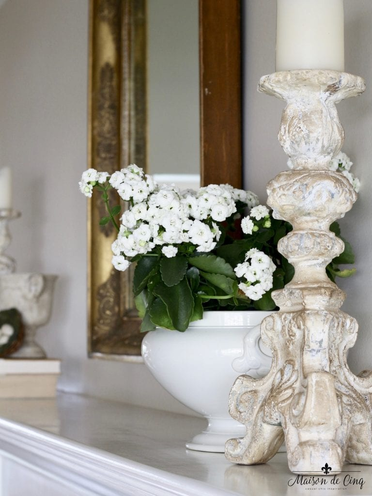 spring mantel decor white flowers french tureen candlesticks