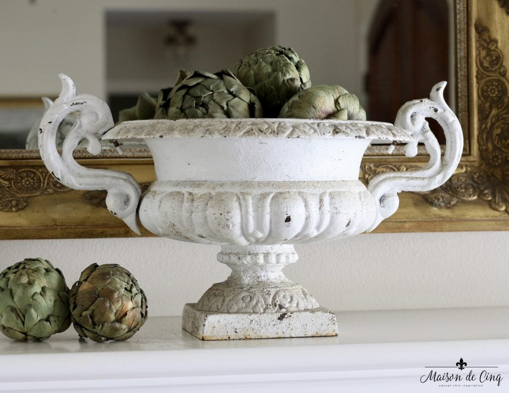 spring mantel decor french cast iron chippy white urn artichokes