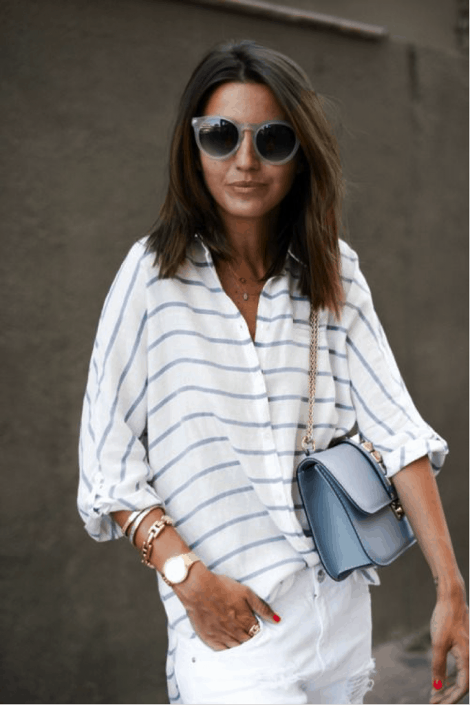 stripes blue and white blouse flowy summer fashion
