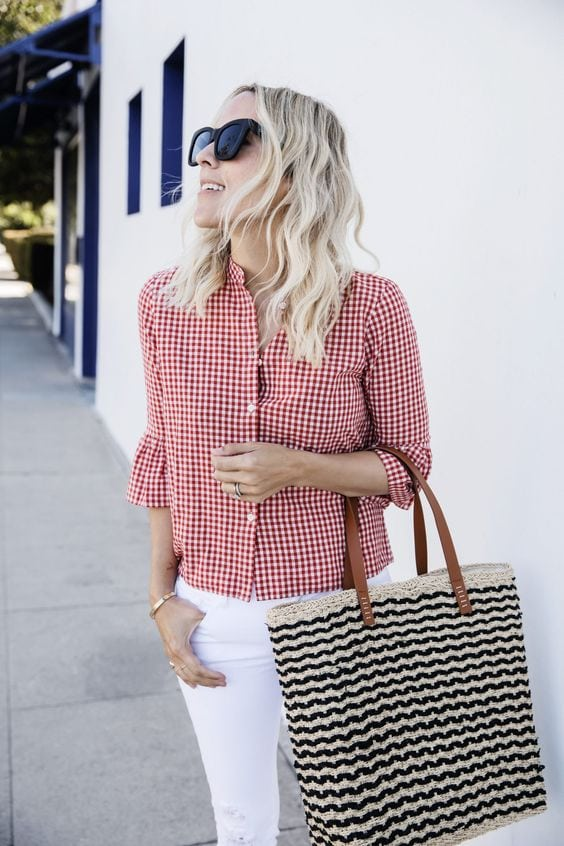 gingham red and white blouse with white jeans summer outfit