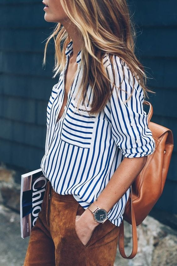 stripes blue and white blouse crisp fashion summer style