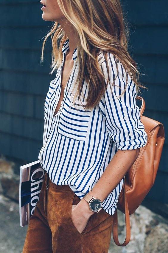 stripes blue and white blouse crisp fashion summer style