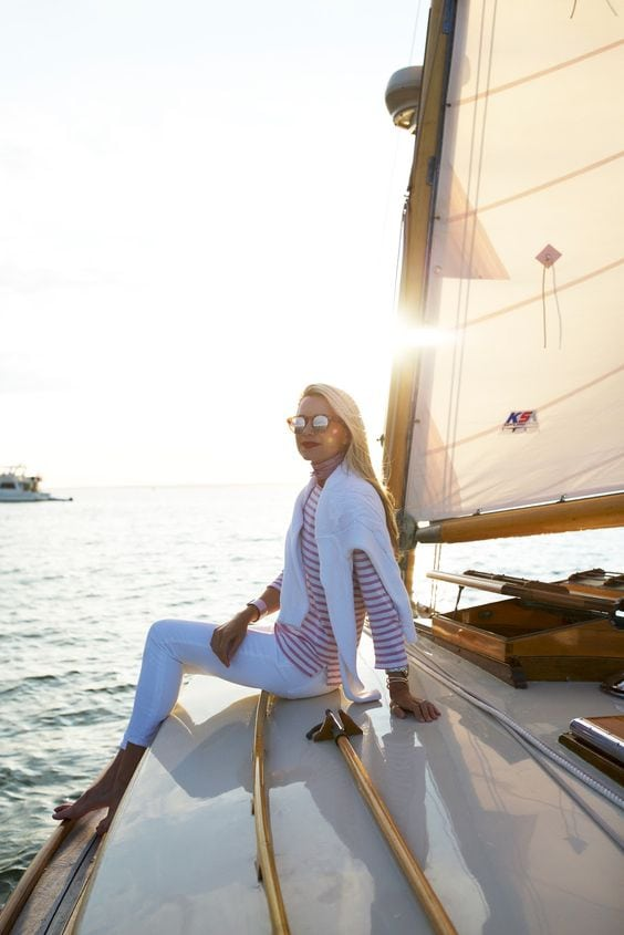 stripes tee sweater capris boat fashion style
