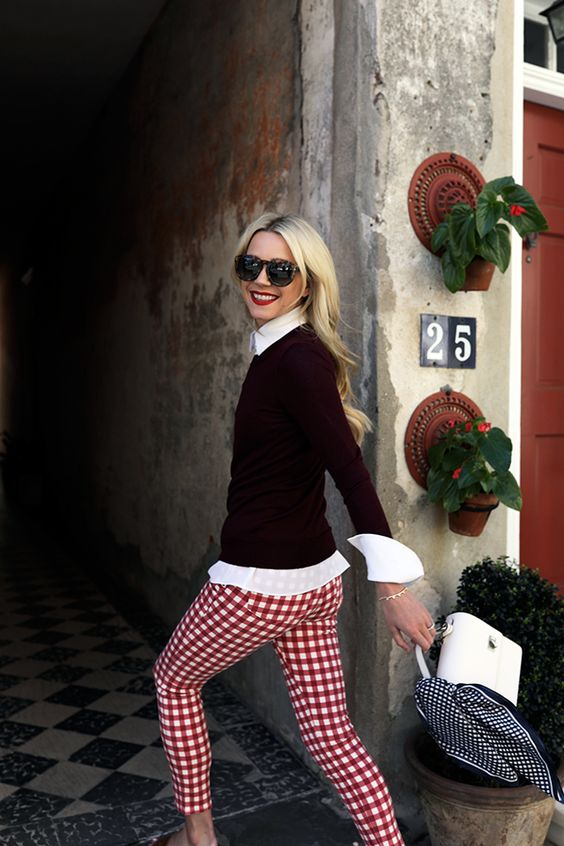 gingham red and white pants black sweater cute fashion style