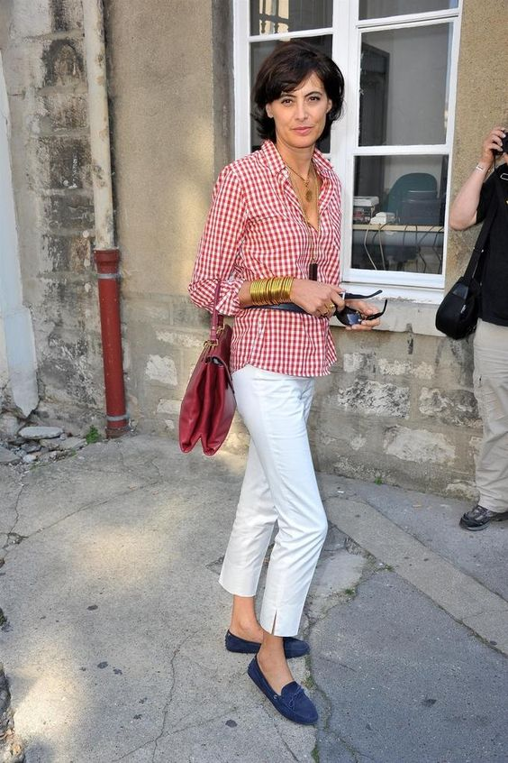 gingham shirt red and white with white cropped pants french chic